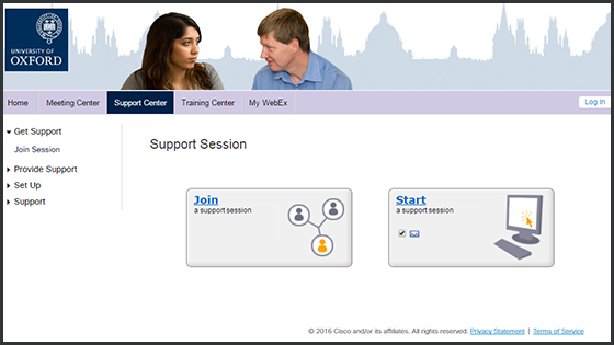 Screenshot of the University of Oxford WebEx service