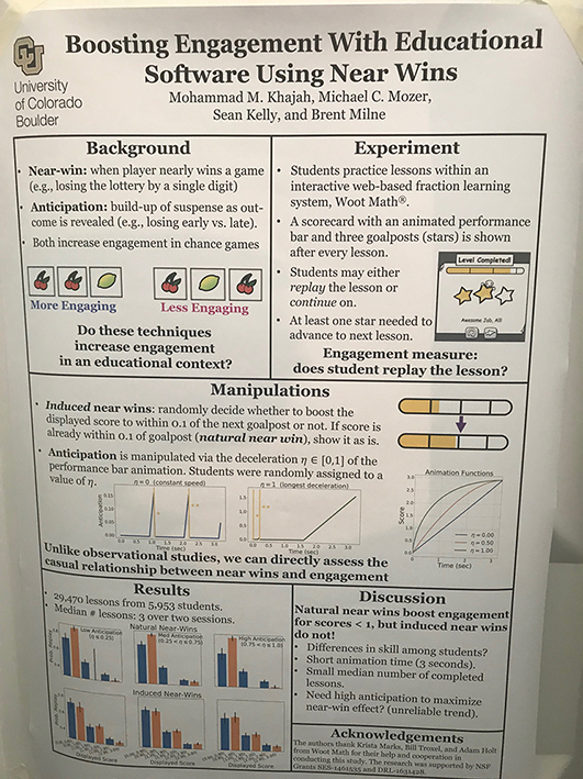 Research poster on Boosting Engagement with Educational Software Using Near Wins