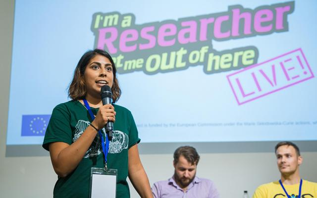 Three researchers presenting at the 'I'm a researcher, get me out of here' live event at Curiosity Carnival 2017