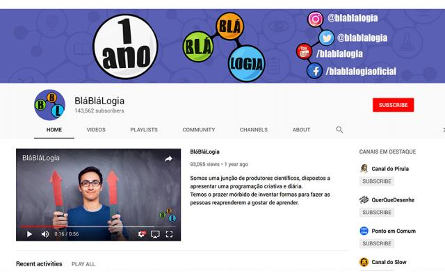 a screenshot from the BláBláLogia channel on YouTube