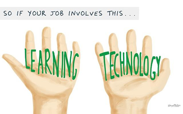 Cartoon of two hands holding the words Learning and Technology