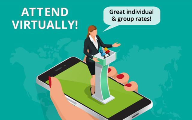 Attend virtually, a cartoon of a hand holding a mobile phone with a speaker stood at a podium on top of the screen