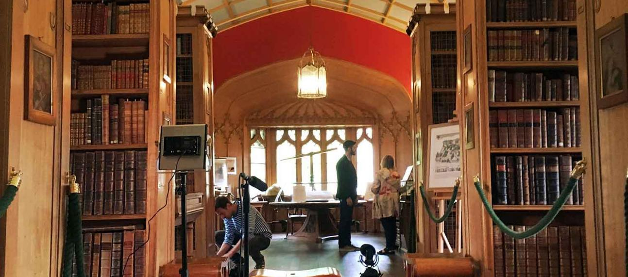 Film setup at the library of Magdalen College, Oxford