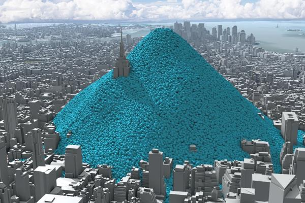Visualisation of New York City's daily carbon dioxide emissions as a heap of one-tonne blue spheres heaped up on Manhattan island