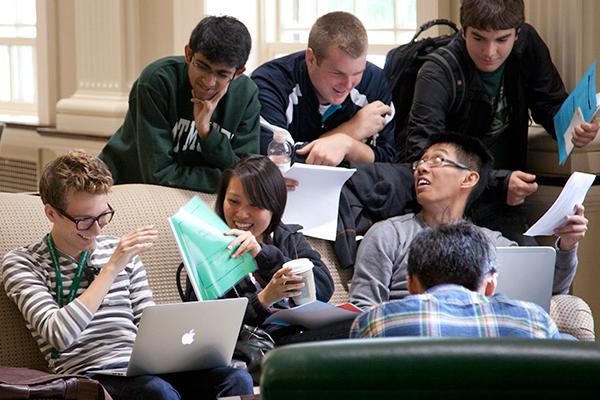 Students gather in the library