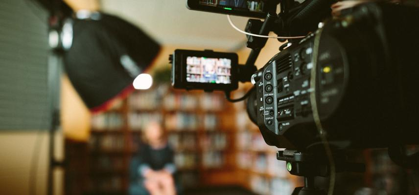 Close-up of a camera set up in a library