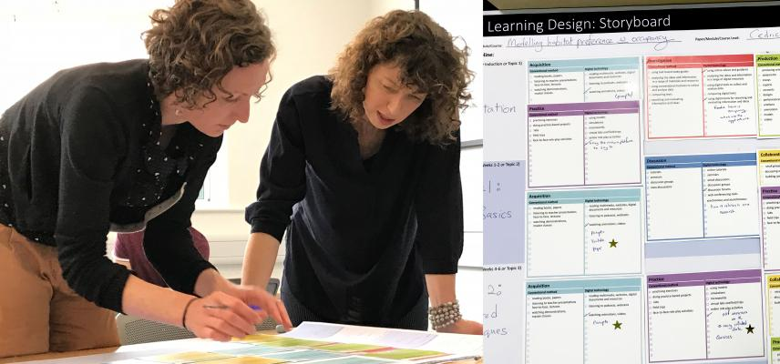 Left: two women looking at the ABC Learning Design storyboard; right: close-up of the storyboard with learning activities