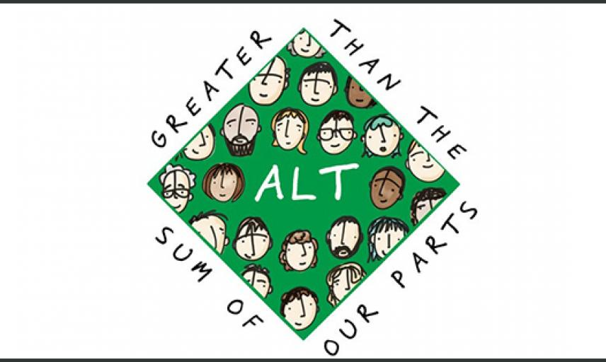 """green square with many illustrated faces inside saying ALT at the centre and ALT's motto """"Greater then the sum of our parts"""" around the shape"""