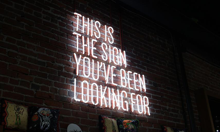 White neon writing on wall THIS IS THE SIGN YOU'VE BEEN LOOKING FOR