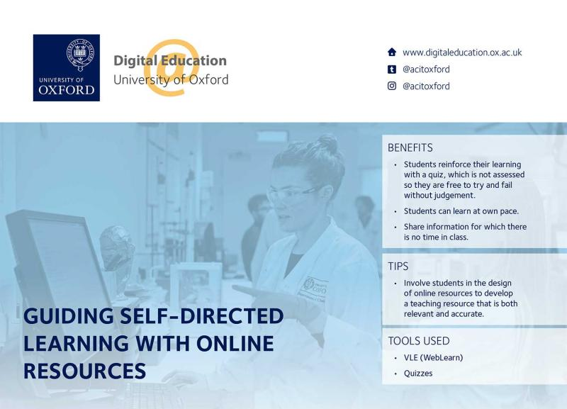 Screenshot of the case study 'Guiding self-directed learning with online resources'