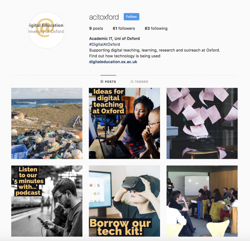 Screenshot of Academic IT's Instagram feed - 24.09.2018