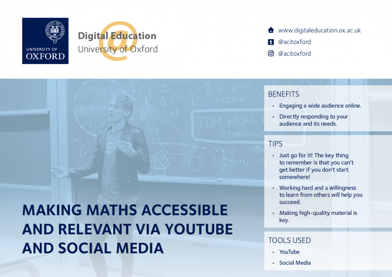 Screenshot of the case study 'Making Maths accessible and relevant via YouTube and Social Media'