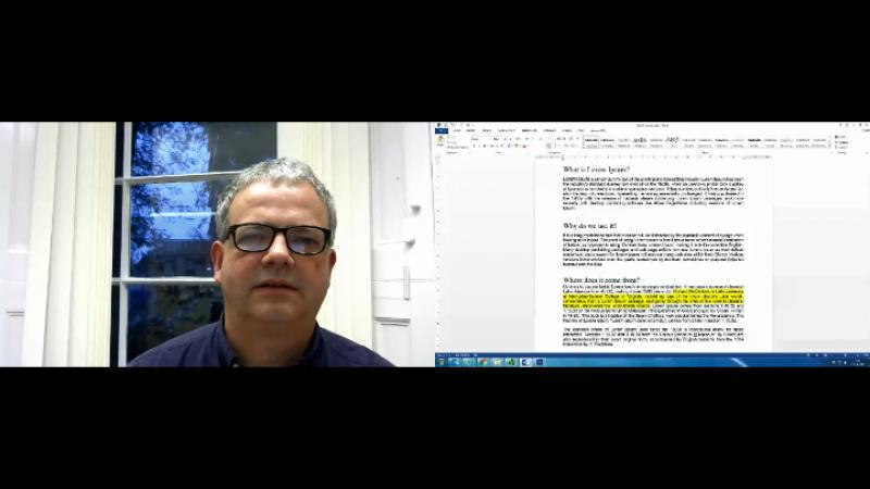 male teacher talking through some highlighted text in a screencast
