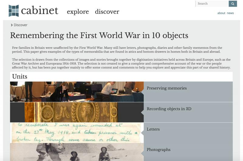screenshot of cabinet remembering the first world war in 10 objects paper