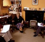 Oxford University history don Dr Gillian Lewis of St Anne's College gives a tutorial in her rooms to two students
